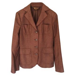 Loro Piana Brown Tweed Tailored Jacket
