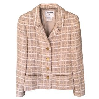 Chanel Beige Tweed Check Classic Jacket
