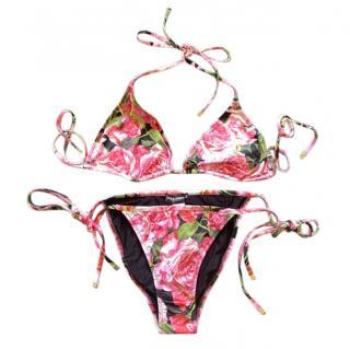 Dolce & Gabbana Rose Print String Bikini