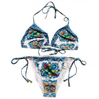 Dolce & Gabbana Sicily Print String Bikini