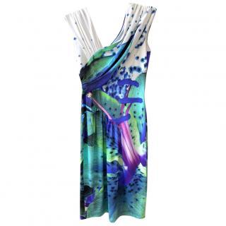 Roberto Cavalli Printed Jersey Draped Dress