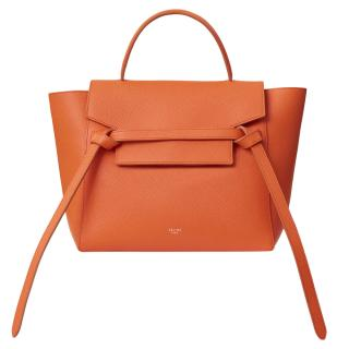 Celine Orange Grained Leather Belt Bag