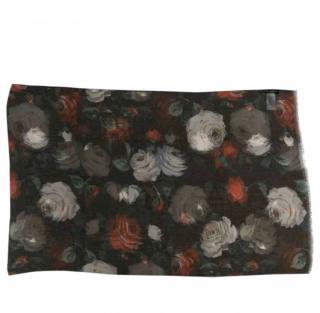 Dolce & Gabbana black rose print silk sheer scarf