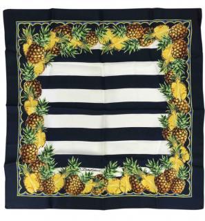 Dolce & Gabbana Striped Pineapple Print Silk Scarf