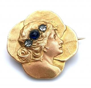 Bespoke French Art Nouveau diamond and sapphire maiden brooch