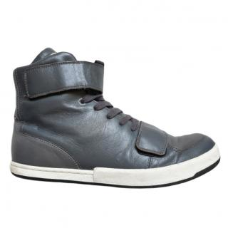 Jil Sander Grey Leather High Tops