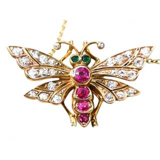 Bespoke Victorian gold, ruby, emerald and diamond butterfly pendant