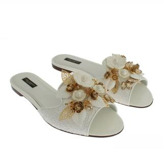 Dolce & Gabbana White Embellished Slides