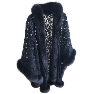 Christian Dior Black Lace Cape Jacket With Fox Fur Trim