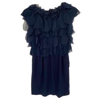 Moschino Navy Ruffled Mini Dress