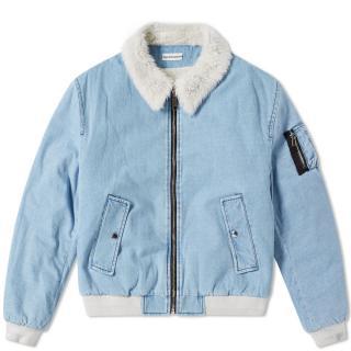 Gosha Rubchinskiy Faux Shearling Collar Denim Jacket