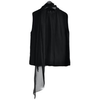 Ralph Lauren Collection black silk scarf detail top