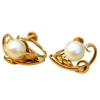 Bespoke art nouveau natural pearl earrings