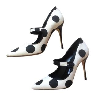 Manolo Blank black and white spotted Mary Jane pumps