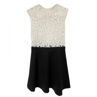 Sandro Two-Tone Lace Panelled Dress