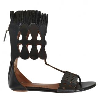 Alaia black laser cut rafia trimmed sandals