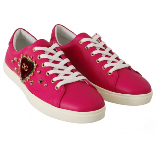 Dolce & Gabbana Pink Leather Embellished Sneakers