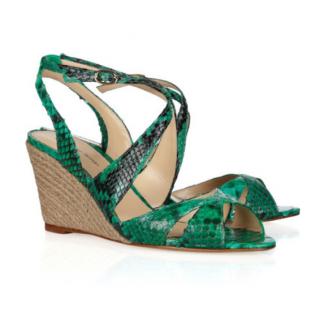 Alexandre Birman Green Python Wedge Sandals