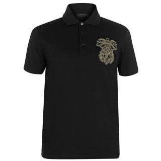 Versace Black Crest Embroidered Polo Shirt