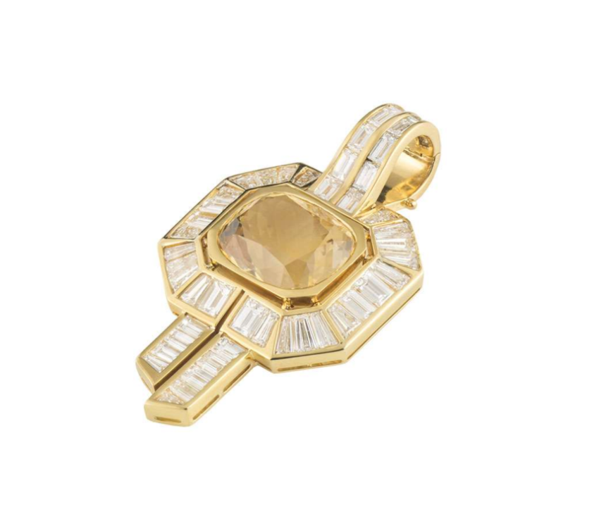Adler Baguette Diamond Citrine Set Geometric Pendant