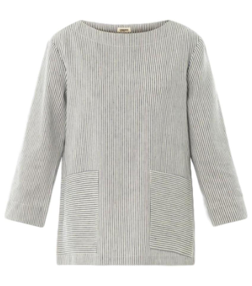 L'Agence striped linen blend top
