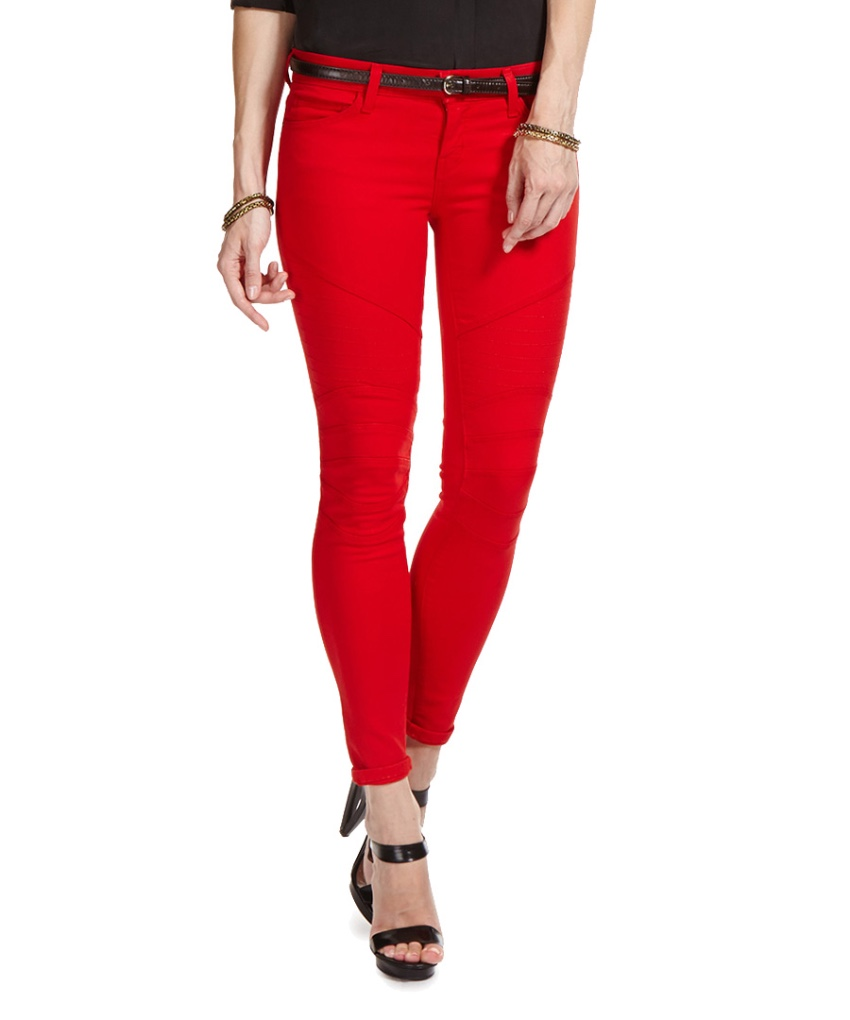 Current Elliott Red Moto Skinny Jeans