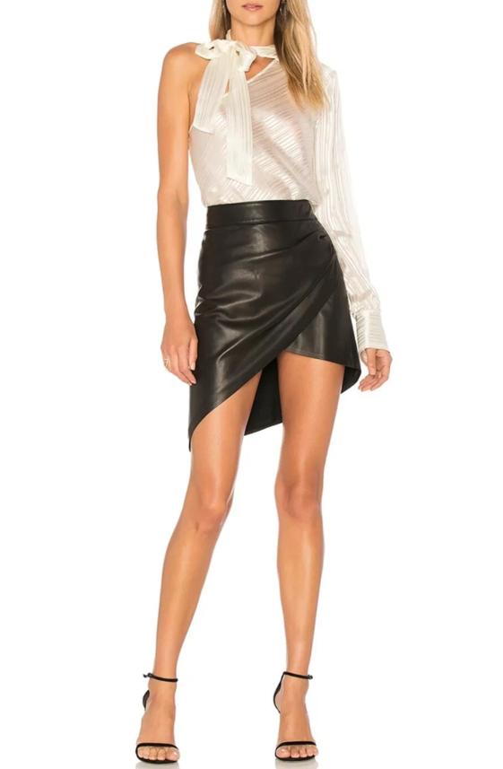 Paige x Rosie HW Frederica Faux Leather Asymmetric Skirt