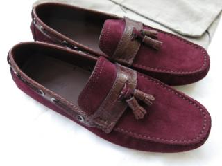 Brioni burgundy suede and crocodile car shoes/loafers