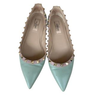 Valentino mint green leather rocketed flats