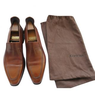 Corthay handmade brown leather shoes with shoetrees