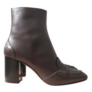 No.21 brown calf leather block heel ankle boots