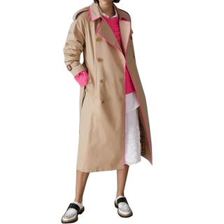 Burberry Double Breasted Honey Trench Coat with Pink Patent Trim