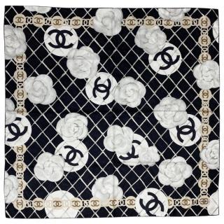 Chanel Black & White Silk Camellia Print Scarf