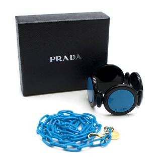 Prada Blue Chain Link Necklace & Geometric Circle Cuff