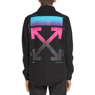 Off White C/O Virgil Abloh Black Denim Shirt w/ Ombre Arrow Back
