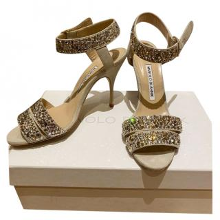 Manolo Blahnik Crystal Embellished Lonia Sandals