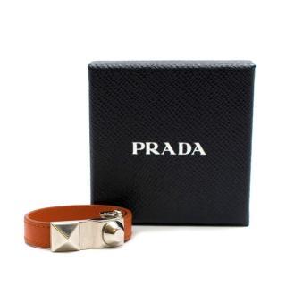 Prada Orange Saffiano Leather Studded Buckle Bracelet