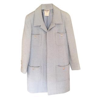 Chanel Pale Blue Tweed Open Coat