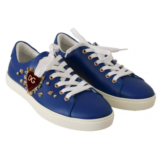 Dolce & Gabbana Blue Leather Low-Top Sneakers