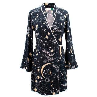 Rixo Iris Crepe Wrap Dress in Galaxy Print