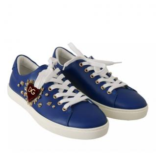 Dolce & Gabbana embellished blue leather sneakers
