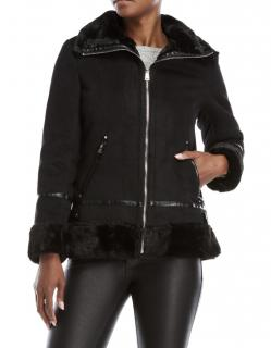 Lauren Ralph Lauren Black Faux Fur Motto Jacket