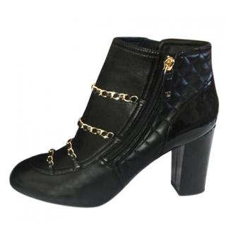 Chanel Quilted Leather Chain Trim Ankle Boots