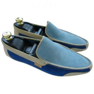 Zilli Blue/ Beige Suede Loafers