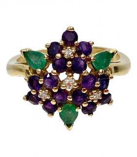 Faberge Diamond, Amyethyst & Emerald Yellow Gold Ring