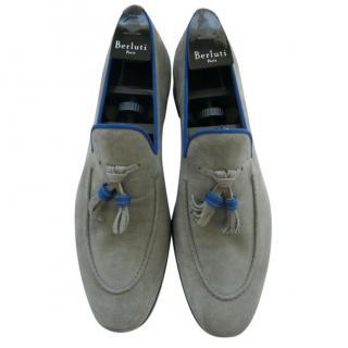 Barrett Grey & Blue Suede Loafers