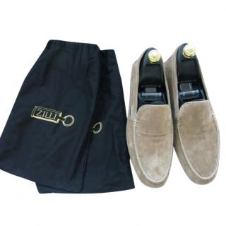 Zilli Beige Suede Moccasin Loafers