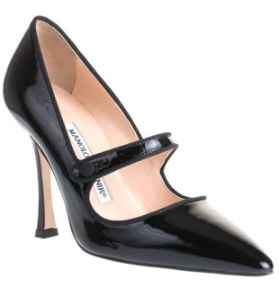 Manolo Blahnik Campari Patent Mary-Jane Pumps