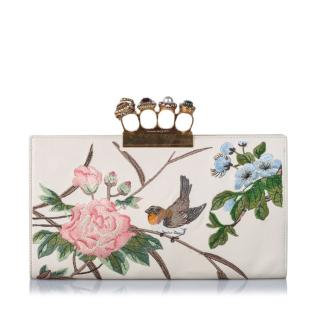 Alexander McQueen Embroidered Leather Knuckle Clutch Bag