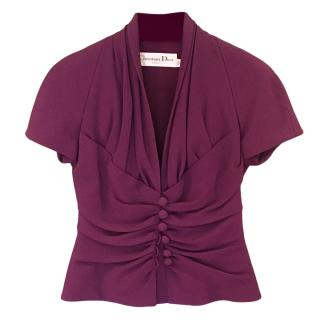 Christian Dior fitted purple short sleeved jacket